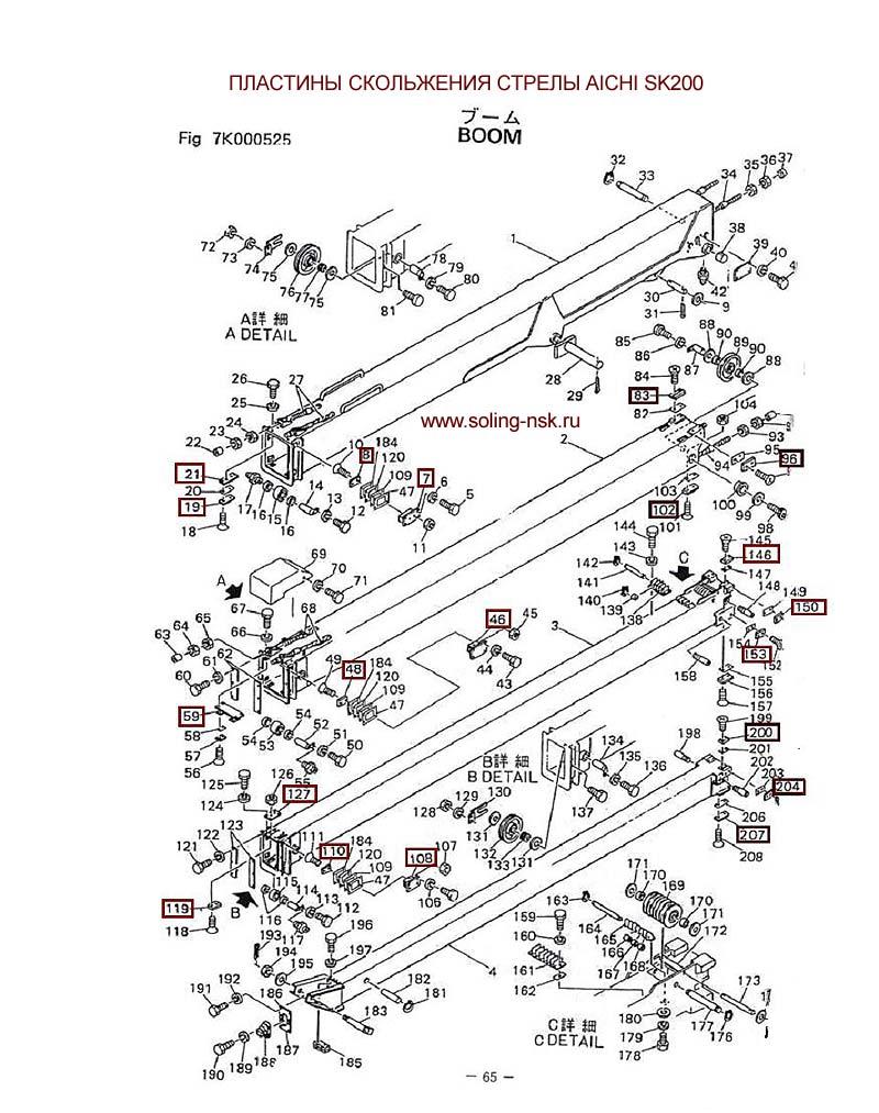 Схема установки стрелы